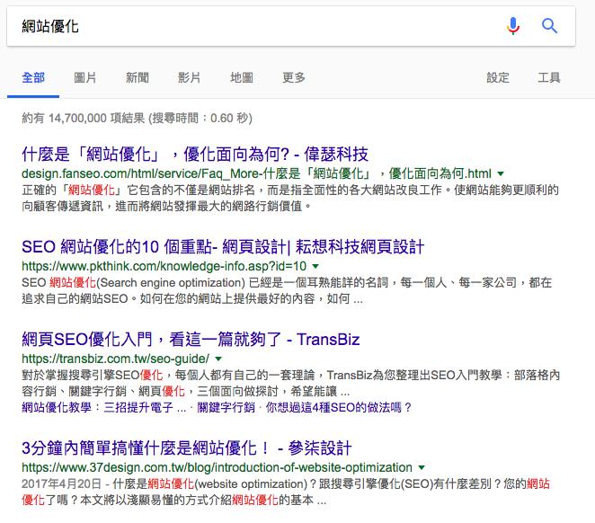 """""""網站優化""""Google搜尋第一頁結果"""