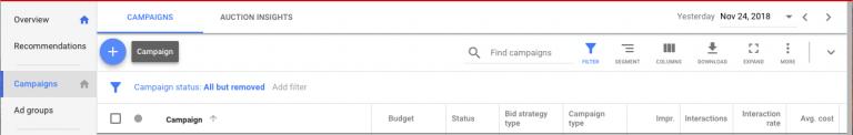 Google 關鍵字廣告,廣告活動設定