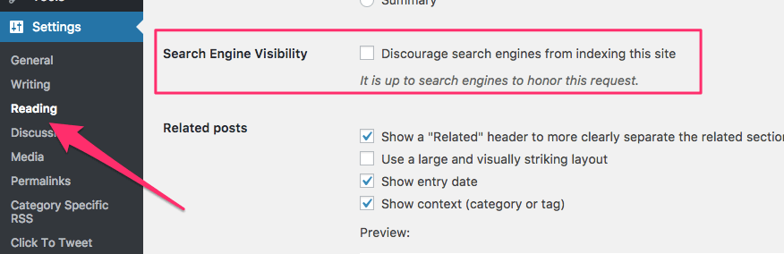 Search Engine Visibility Setting